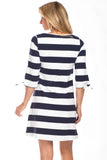 Summit Tie Sleeve Dress in Navy with White