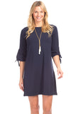 Summit Tie Sleeve Dress in Navy