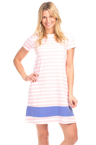Ludington Dress in Sky with White