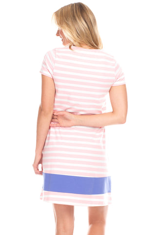 Adams Dress in Pink Stripes with Iris
