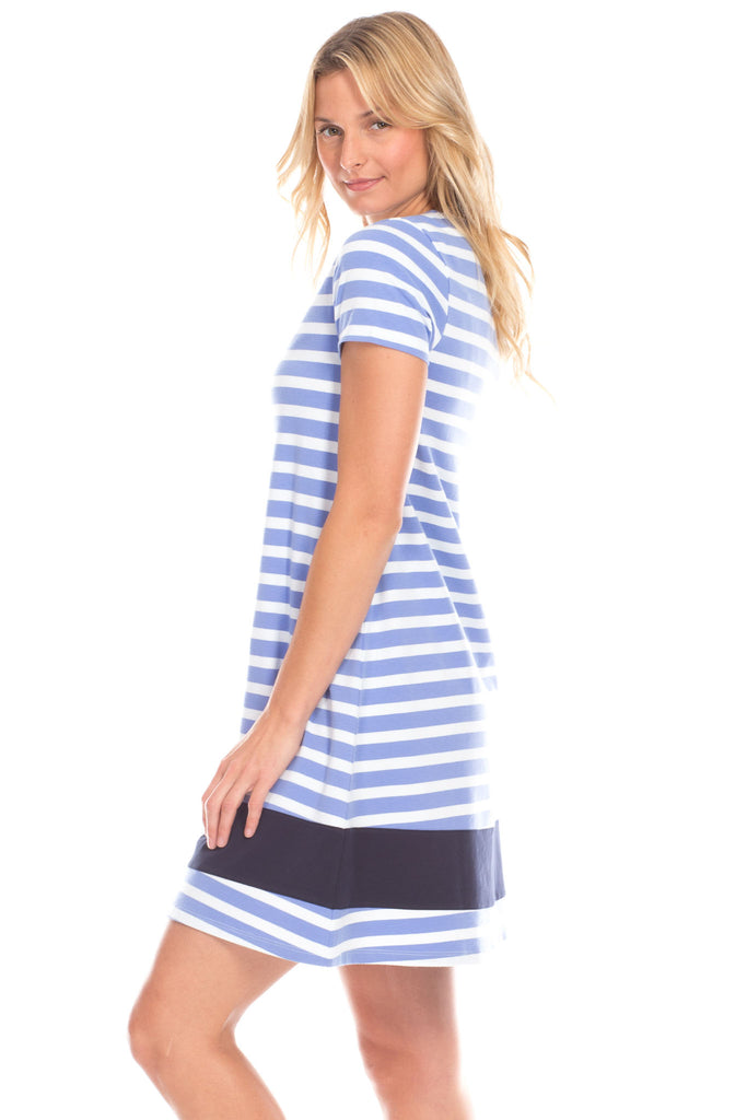 Adams Dress in Iris Stripes with Navy