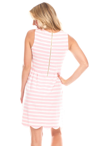 Lakeview Dress in Pink and White Stripes
