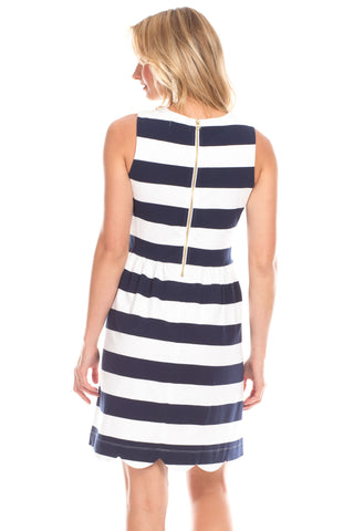 Lakeview Dress in Navy and White Stripes