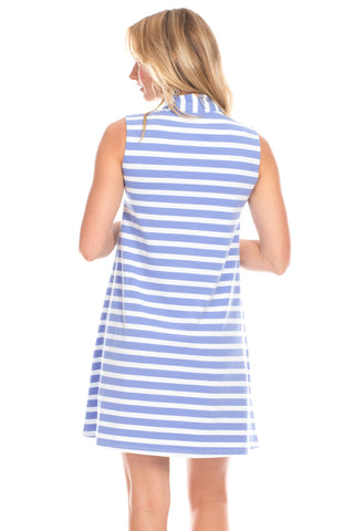 Kingston Dress in Iris and White Stripes