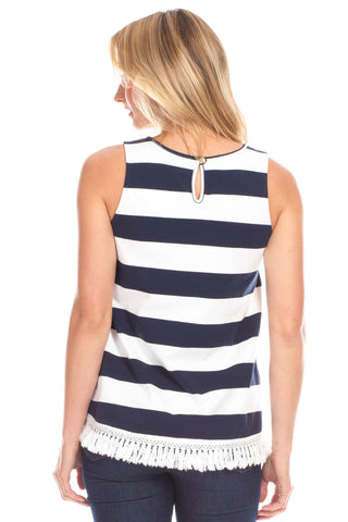 Ferris Tank in Navy with White Stripes