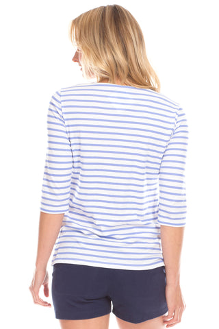 Stripe Tee in Iris and White