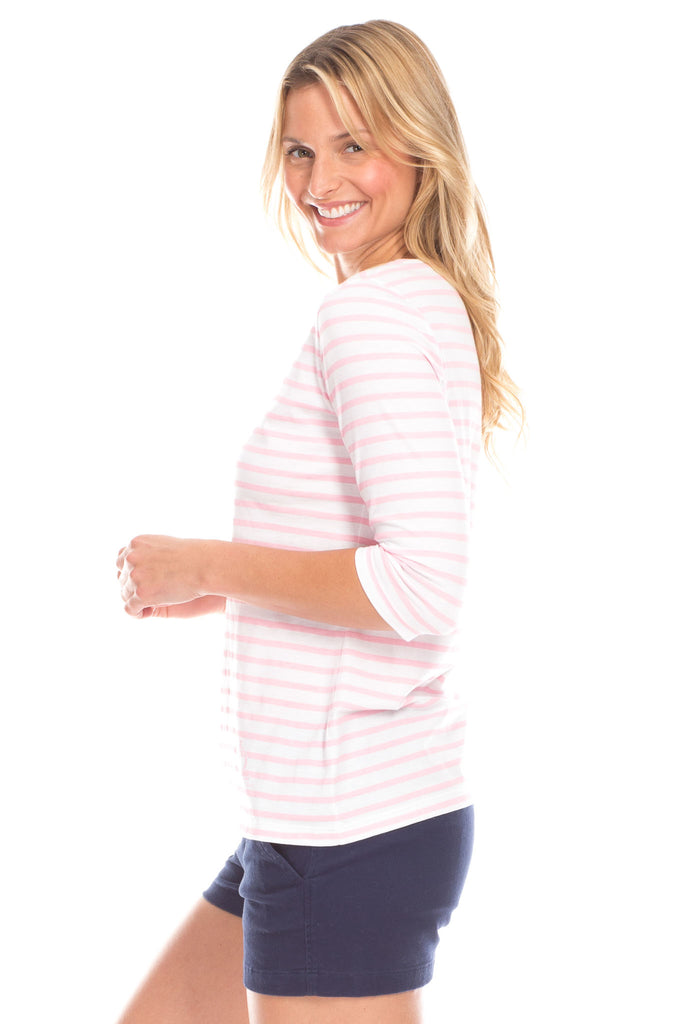 Stripe Tee in Pink and White