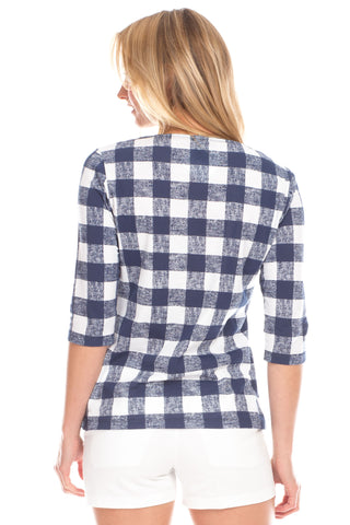 Gingham Tee in Navy