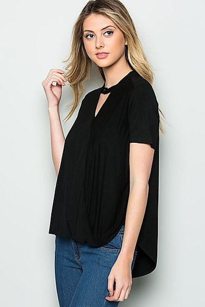 Keyhole Wrap Top Black