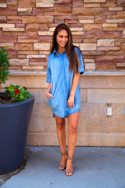 Relaxed chambray shirt dress
