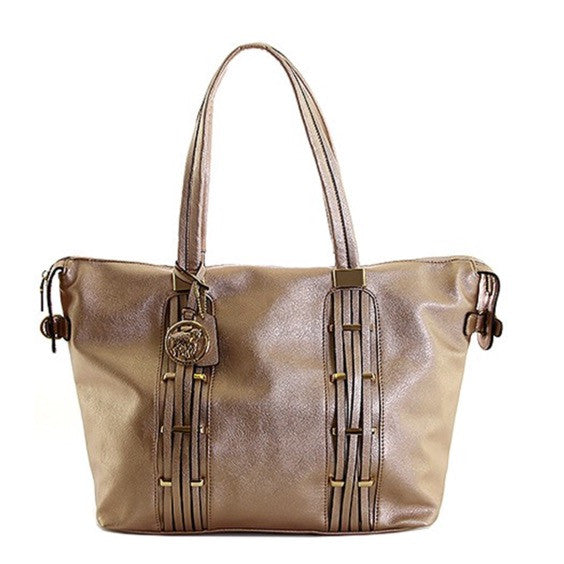 Rose gold shoulder handbag