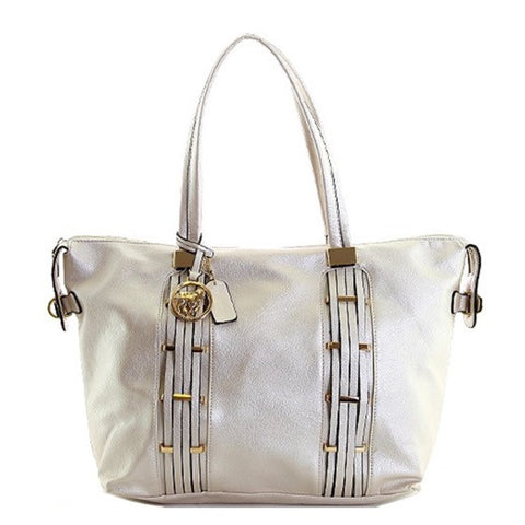 Ivory metallic shoulder handbag