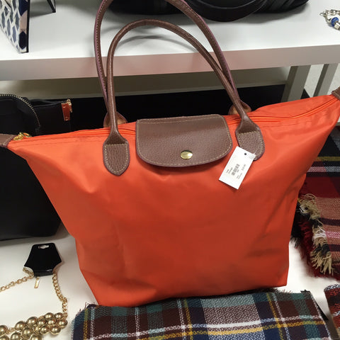 Orange nylon tote handbag