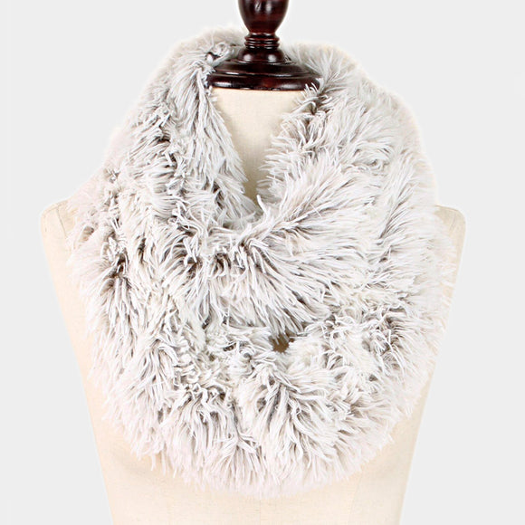 Taupe fur infinity scarf