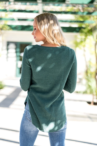 Ribbed Knit Comfort Sweater Green