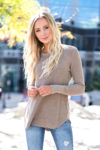 Ribbed Knit Comfort Sweater Taupe