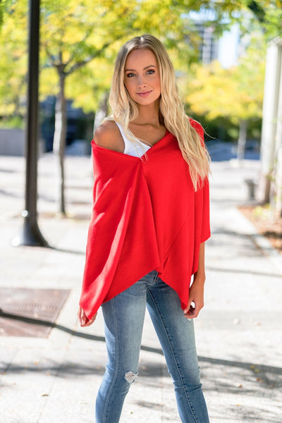 Wrap Me Up Poncho Red