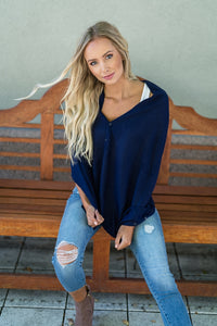 Wrap Me Up Poncho Navy