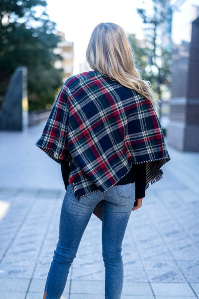 Plaid Poncho Navy Blue