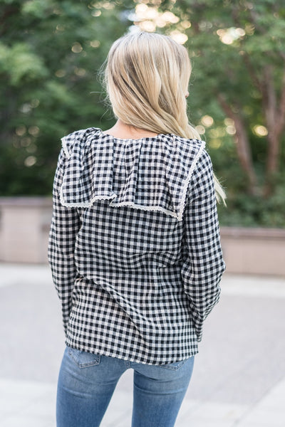 Gingham Top Black and Ivory