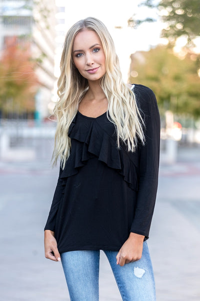 Ruffle Tunic Top Black