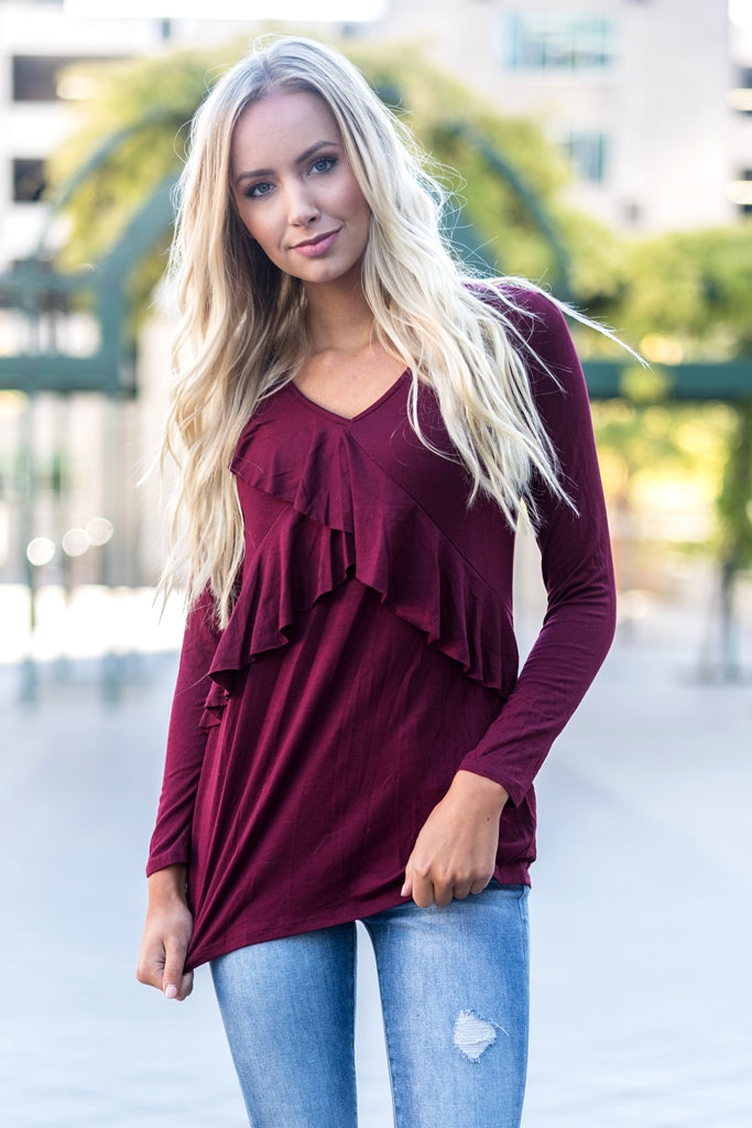 Ruffle Tunic Top Wine