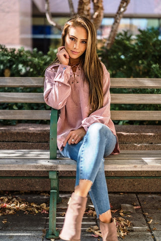 Corduroy Lace Up Top Pink