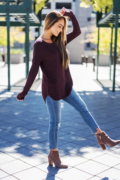 Ribbed Knit Comfort Sweater Berry