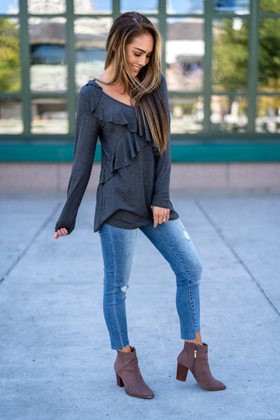Ruffle Tunic Top Gray