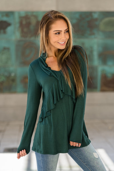 Ruffle Tunic Top Green