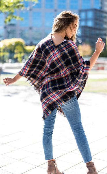 Plaid Poncho Black