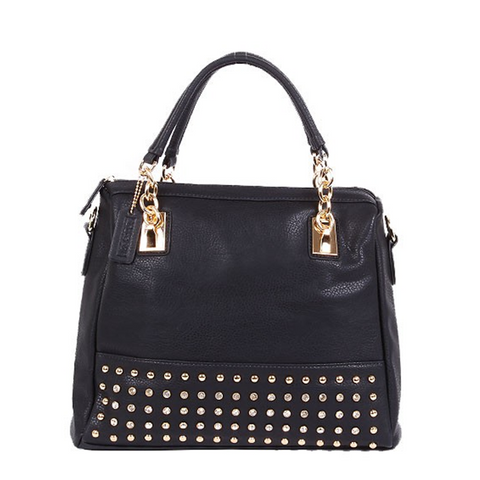 Black crystals and chain accent handbag
