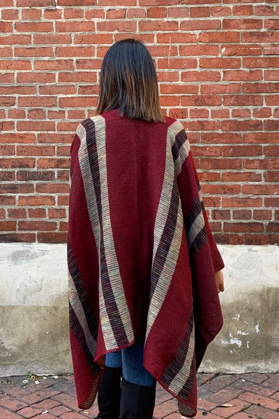 Striped Wrap Burgundy