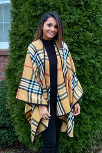 Mad for Plaid Wrap Camel