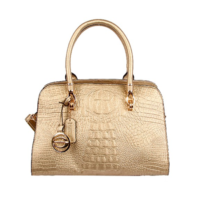 Gold croc satchel handbag