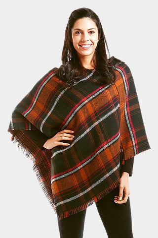 Plaid Poncho Green