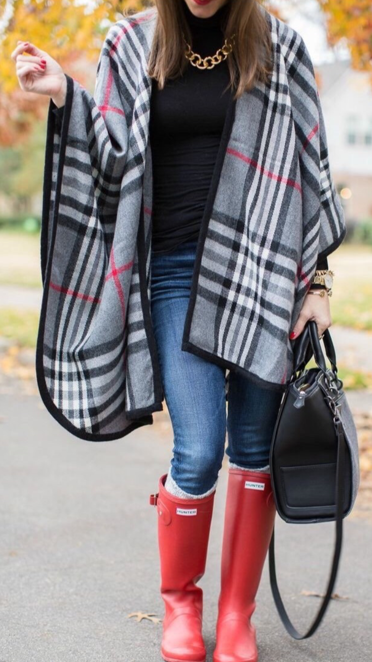 Mad for Plaid Ruana Wrap - Gray