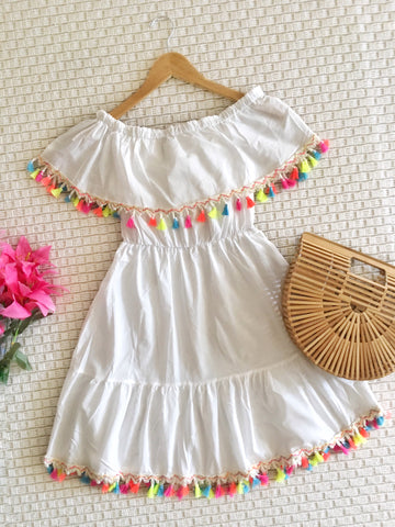Off the shoulder tassel dress