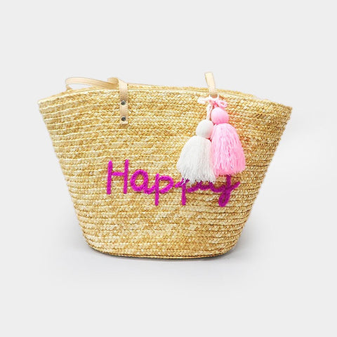 Tassel straw bag - Happy