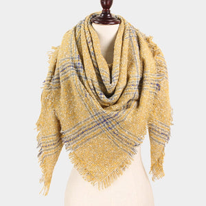 Check Blanket Scarf Mustard