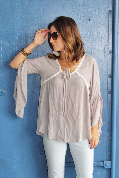 Bell Flow Top Dusty Gray