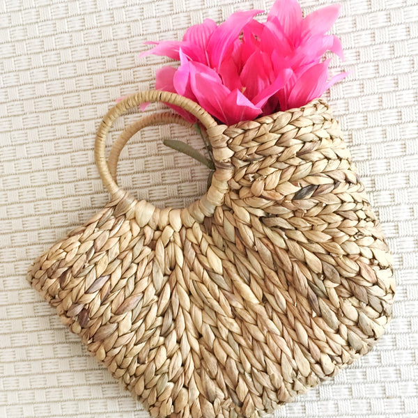 Braided basket tote bag