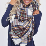 Ivory plaid blanket scarf
