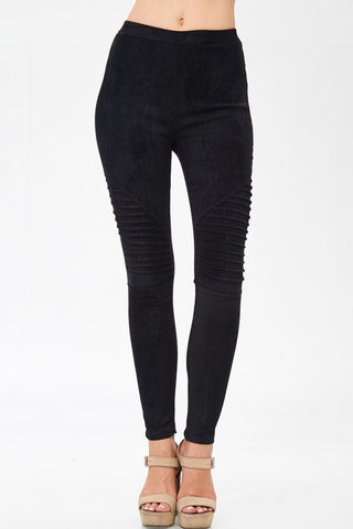 Suede Moto Leggings Black