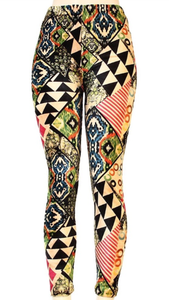Warm velvet printed leggings