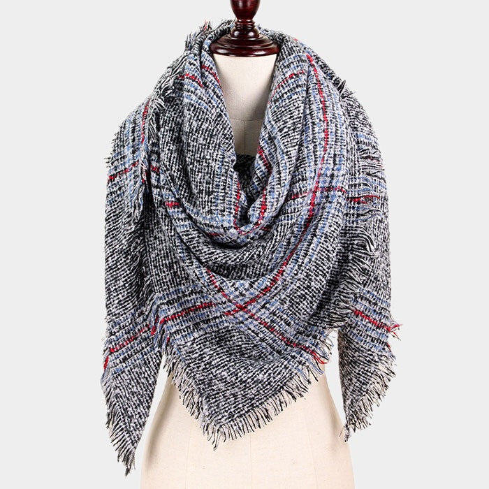 Check Blanket Scarf Gray
