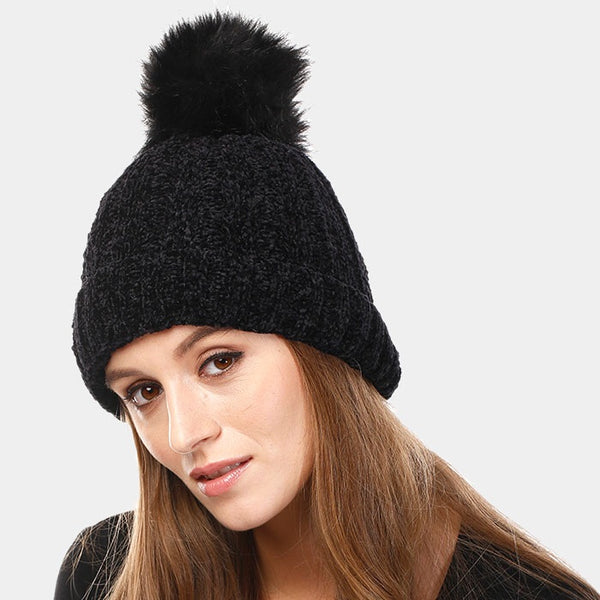 Chenille Pom Knit Hat