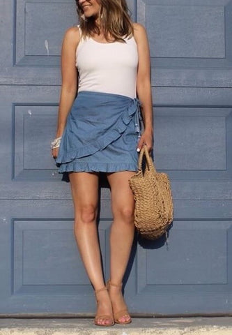Chambray faux wrap skirt