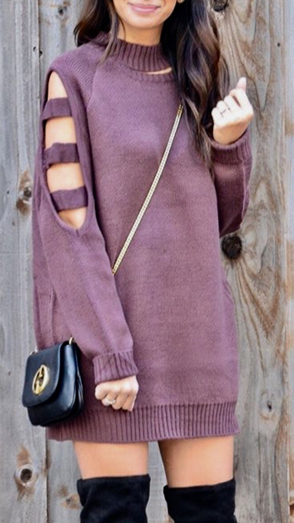 Cutout sleeve sweater dress