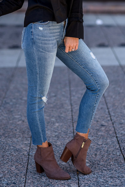 Distressed Skinny Ankle Jeans